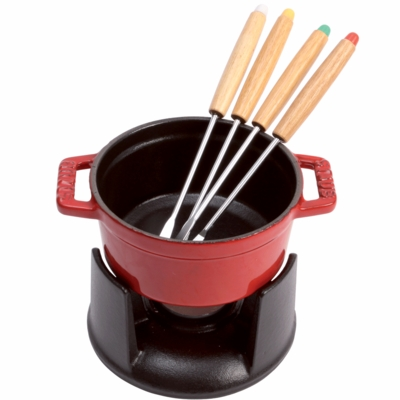 Staub Cast Iron 0.25-qt Mini Chocolate Fondue Set -  Cherry