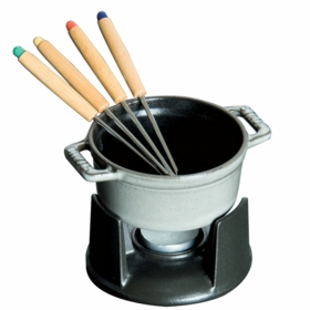 Mini Chocolate fondue set with 4 forks, 0.25QT, Graphite Grey