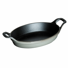 "Oval Roasting Dish, 9 1/2"" x 6 3/4"", 1QT, Graphite Grey"