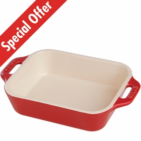 "Staub Ceramic Rectangular Dish 10.5"" x 7.5"", 2.5Qt, Cherry"