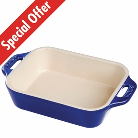 "Staub Ceramic Rectangular Dish 10.5"" x 7.5"", 2.5Qt, Dark Blue"