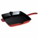 "Staub Cast Iron 10"" Square Grill Pan - Cherry"