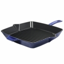 "Staub Cast Iron 10"" Square Grill Pan - Dark Blue"