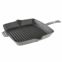 "Staub Cast Iron 10"" Square Grill Pan - Graphite Grey"