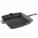 "Staub Cast Iron 10"" Square Grill Pan - Grenadine"