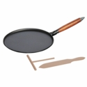 "Staub Cast Iron 11"" Crepe Pan with Spreader & Spatula - Matte Black"