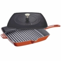 "Staub Cast Iron 12"" Square Grill Pan & Press Set -  Burnt Orange"