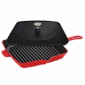 "Staub Cast Iron 12"" Square Grill Pan & Press Set - Cherry"