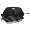 "Staub Cast Iron 12"" Square Grill Pan & Press Set - Graphite  Grey"