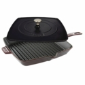 "Staub Cast Iron 12"" Square Grill Pan & Press Set - Grenadine"