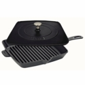 "Staub Cast Iron 12"" Square Grill Pan & Press Set - Matte Black"