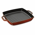 "Staub Cast Iron 13"" Square Double Handle Grill Pan - Visual Imperfections - Brick Red"