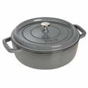 Staub Cast Iron 4-qt Shallow Wide Round Cocotte - Visual Imperfections - Graphite Grey