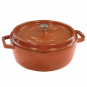 Staub Cast Iron 6-qt Shallow Wide Round Cocotte - Burnt Orange