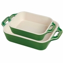 Staub Ceramic 2-pc Rectangular Baking Dish Set - Basil