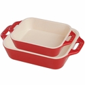 Staub Ceramic 2-pc Rectangular Baking Dish Set - Cherry