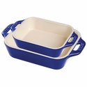 Staub Ceramic 2-pc Rectangular Baking Dish Set - Dark Blue