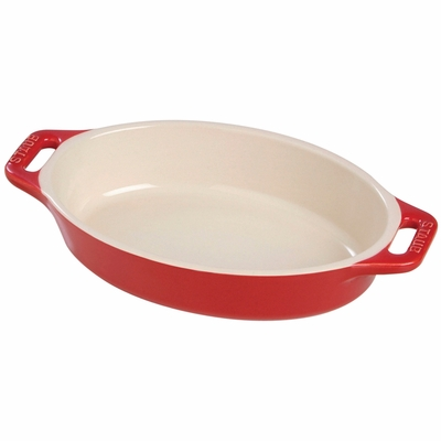 "Staub Ceramic 9"" Oval Baking Dish - Cherry"