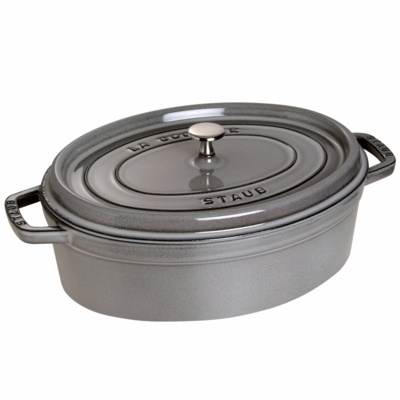 Staub Cast Iron 4-qt Shallow Wide Oval Cocotte - Graphite Grey
