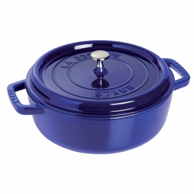 Wide Round Oven - Shallow Cocotte, 4QT, Dark Blue