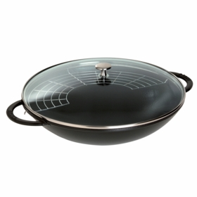Wok with Glass Lid, 6QT, Black Matte