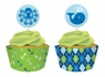 Ocean Preppy Boy Cupcake Picks with Wrappers 12 Pack