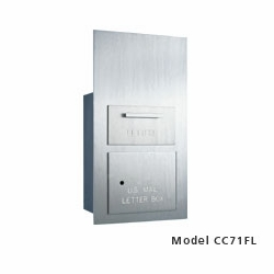 Rear Loading 1 Hopper Door Outgoing Mail Drop Box (5 Units High) - Brushed Aluminum