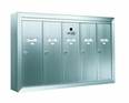 6 Compartment Surface Mount Vertical Mailboxes - Anodized Gold