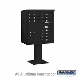 10 Door 4C Pedestal Mailbox - Black