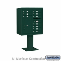 10 Door 4C Pedestal Mailbox - Green