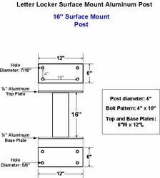 "16"" Aluminum Surface Mount Post For Supreme"