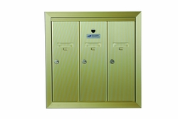 1250 USPS STD-4B+ Vertical Mailboxes - Surface Mount With Matching SMS Collar - Gold Powder Coat