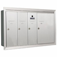 3 Single Compartment and 1 Double-Wide with Optional Mail Slot Vertical Mailboxes