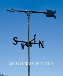 "30"" Traditional Directions SPEAR Weathervane in Black for Roof or Garden"