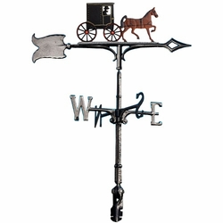 "30"" Traditional Directions Life-Like MultiColor AMISH BUGGY Weathervane for Roof or Garden"