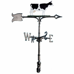 "30"" Traditional Directions Life-Like MultiColor COW Weathervane for Roof or Garden"