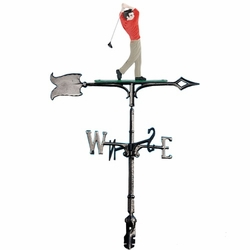 "30"" Traditional Directions Life-Like MultiColor Golfer Weathervane for Roof or Garden"