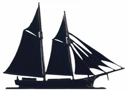 "30"" Traditional Directions Maritime SCHOONER Weathervane in Black for Roof or Garden"