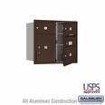 Front Loading 4C Horizontal Mailbox w/ 1 Tenant Door and 1 Parcel Unit - USPS Access - Bronze