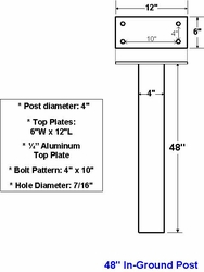 "48"" Standard Aluminum In-Ground Post For Standard"