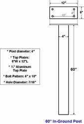 "60"" Standard Aluminum In-Ground Post For Standard or Custom Commercial"