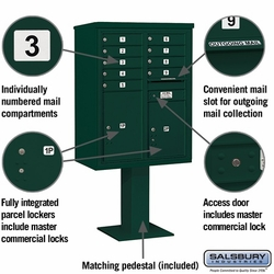 9 Door 4C Pedestal Mailbox - Green
