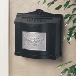 Black Wall Mount Mailbox with Satin Nickel Eagle Emblem