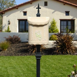 Bouquet Wall or Post Mount Mailbox in Beige
