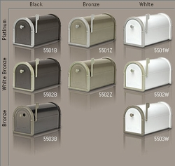 White Bellevue Mailbox with Bronze Accents