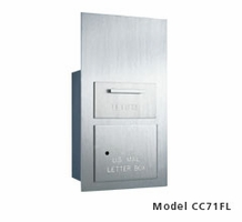 Rear Loading 1 Hopper Door Outgoing Mail Drop Box (7 Units High) - Brushed Aluminum