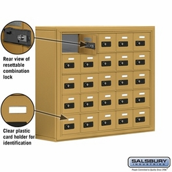 Cell Phone Storage Locker - 25 A Doors - Gold - Resettable Combination Locks