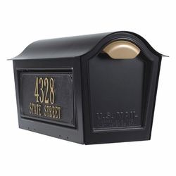 Chalet Mailbox w/2 Side Plaques - Black