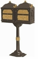 Classic Double Mount Pedestal Mailbox w/Satin Nickel Accents