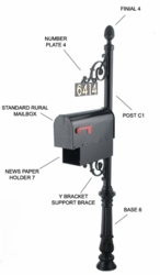 Contemporary Mailbox Post System Series C2 - C2-6107-6